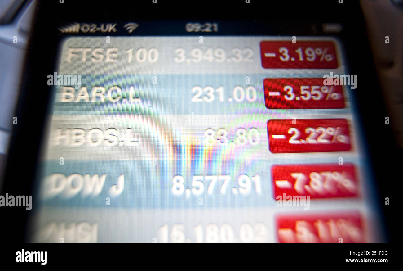 Stock markets shown in the red on an iPhone screen Stock Photo