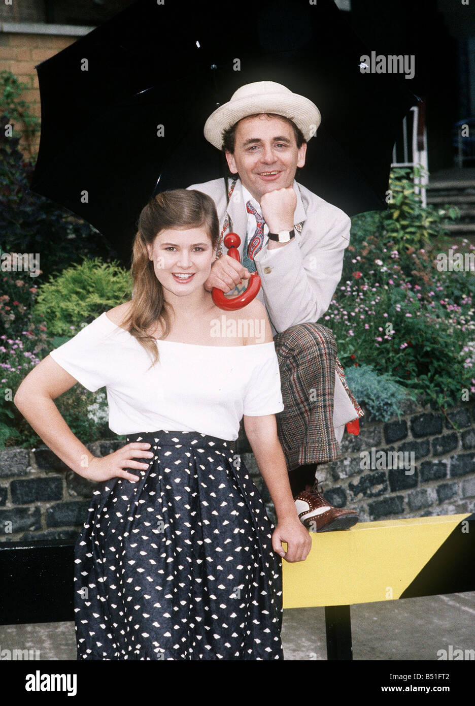 Actress Sophie Aldred who played the companion Ace next to Doctor Who No 7 Sylvester McCoy 1987 - Stock Image