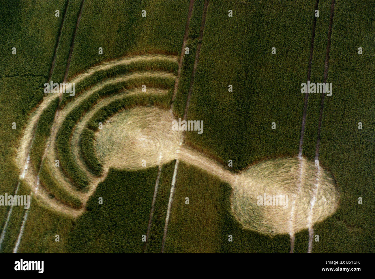 Mysteries Crop Circles aerial shot - Stock Image