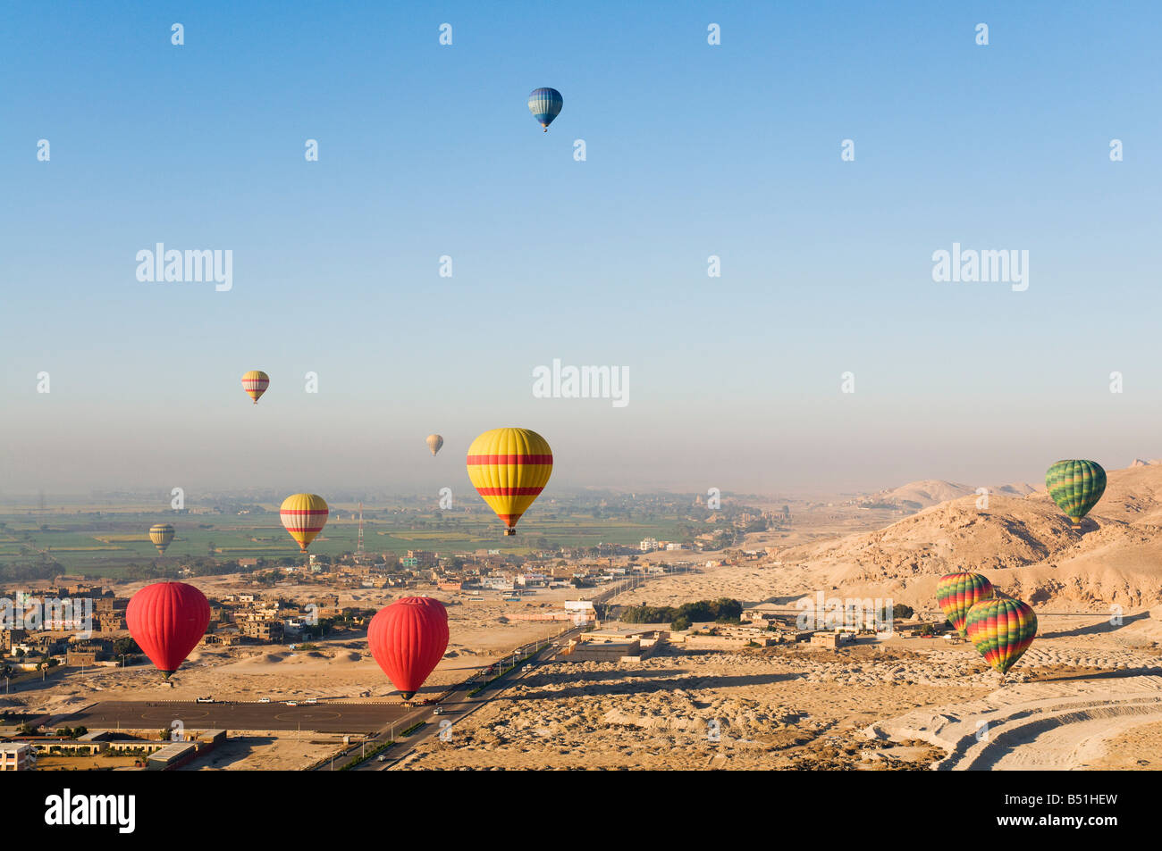 Hot Air Balloons, West Bank, Luxor, Egypt Stock Photo