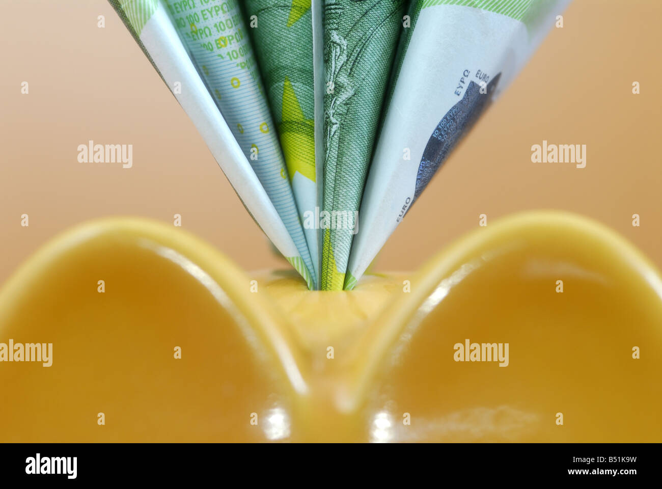 Piggy bank with banknotes - Stock Image