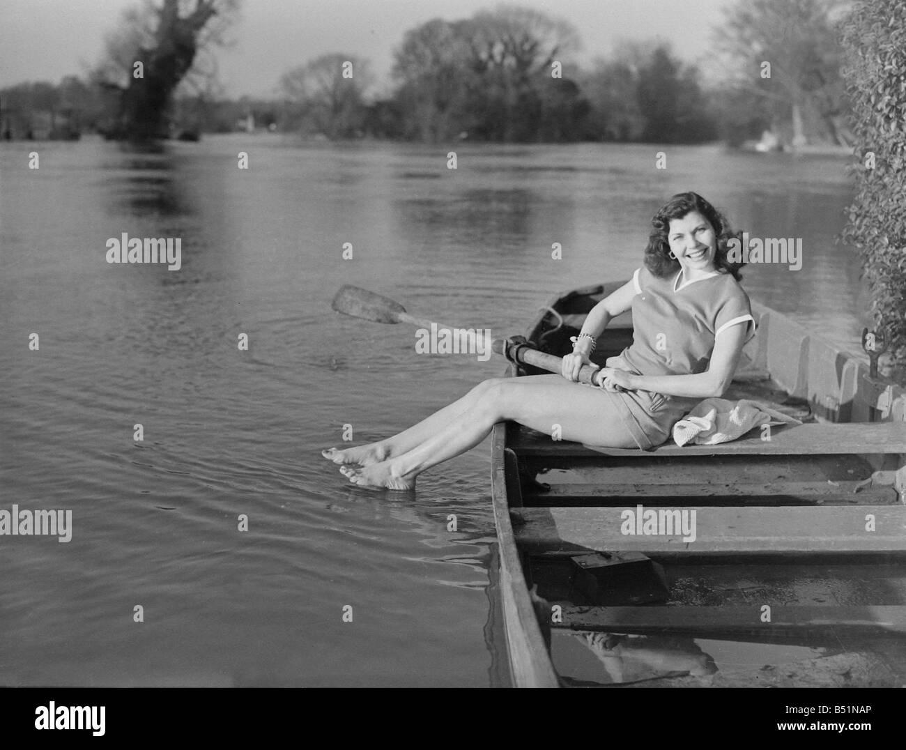 Simone Silver rowing on riverSP 15/4/1951B1743/51 - Stock Image