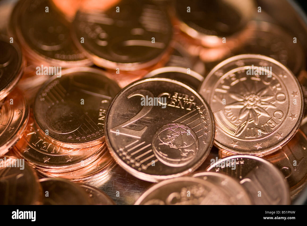 pile of 2 cent coins - Stock Image
