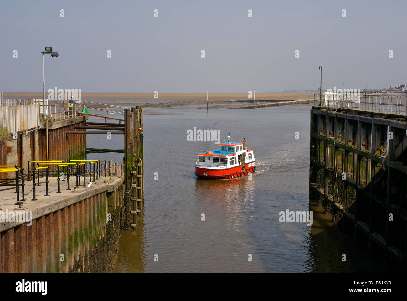 The ferry that plies between Fletwood and Knott End, Wyre estary, Lancashire, England UK - Stock Image
