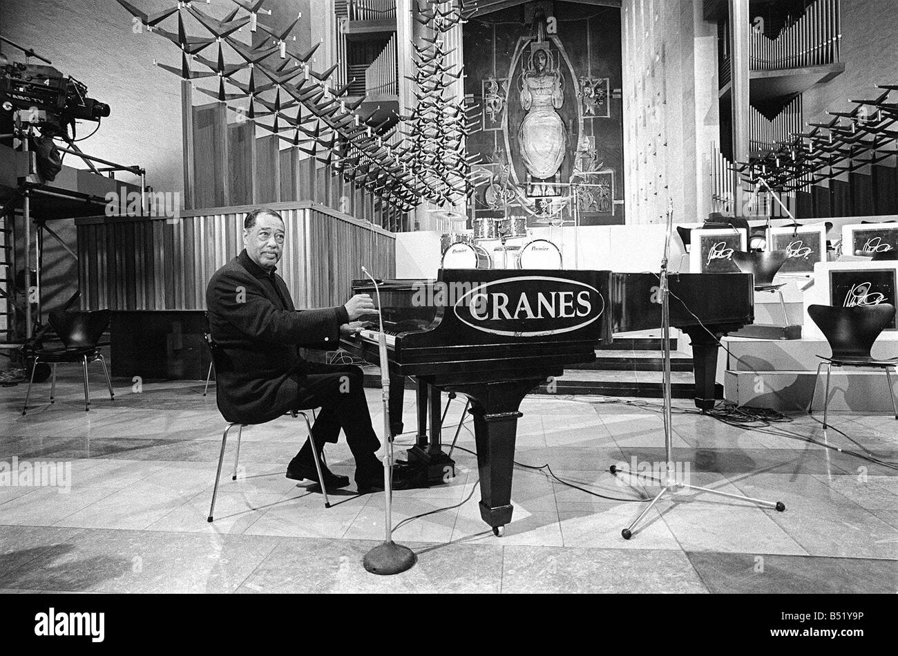 Duke Ellington and Orchestra February 1966 recorded a concert for ABC Television in Conventry Cathedral Duke rehearses - Stock Image