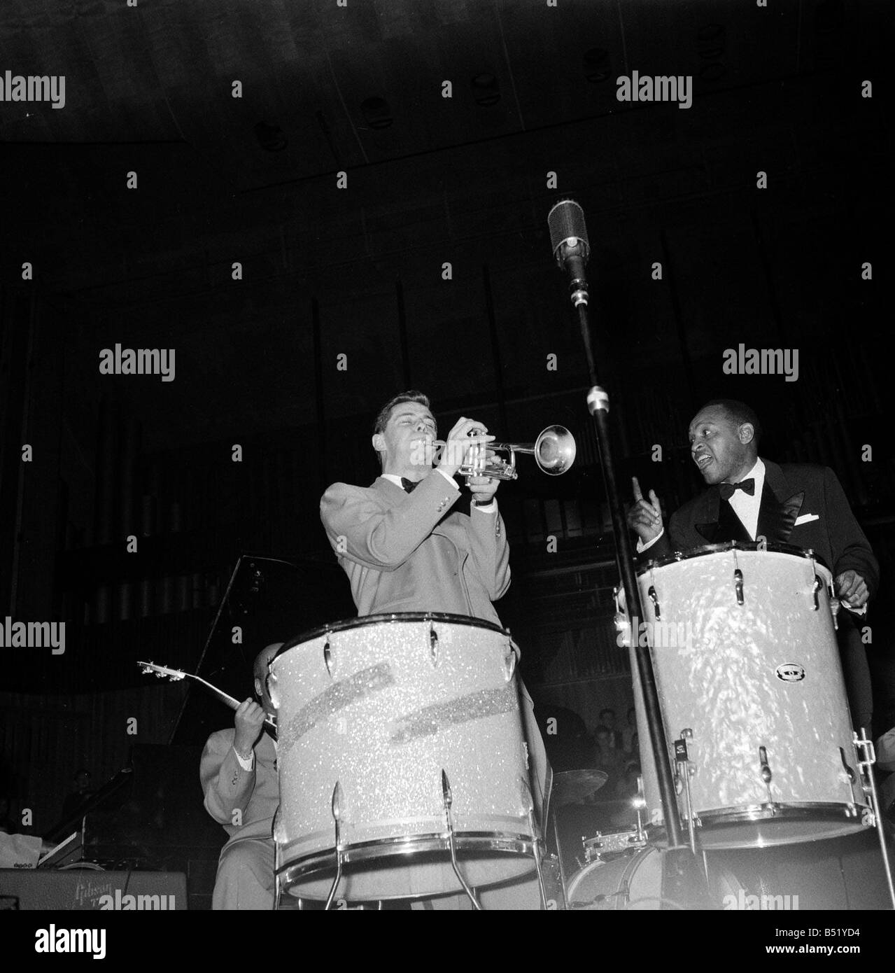 1950s Jazz performers Lionel Hampton band leader at the Royal Festival hall in London Band member plays trumpet - Stock Image
