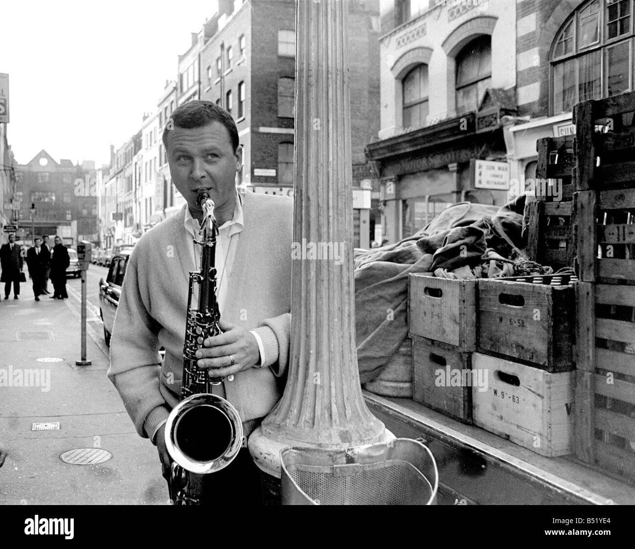Jazz performer Stan Getz at Ronnie Scott s jazz club Master tenor saxophonist - Stock Image
