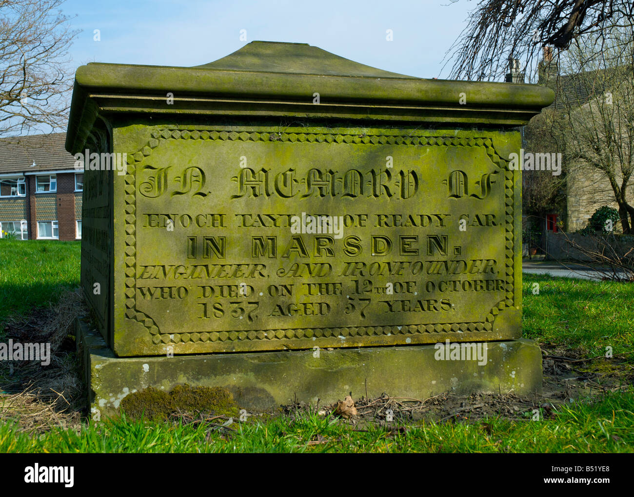 Grave of Enoch Taylor, maker of cropping machines, that inspired the Luddite revolts, Marsden, Lancashire, England - Stock Image