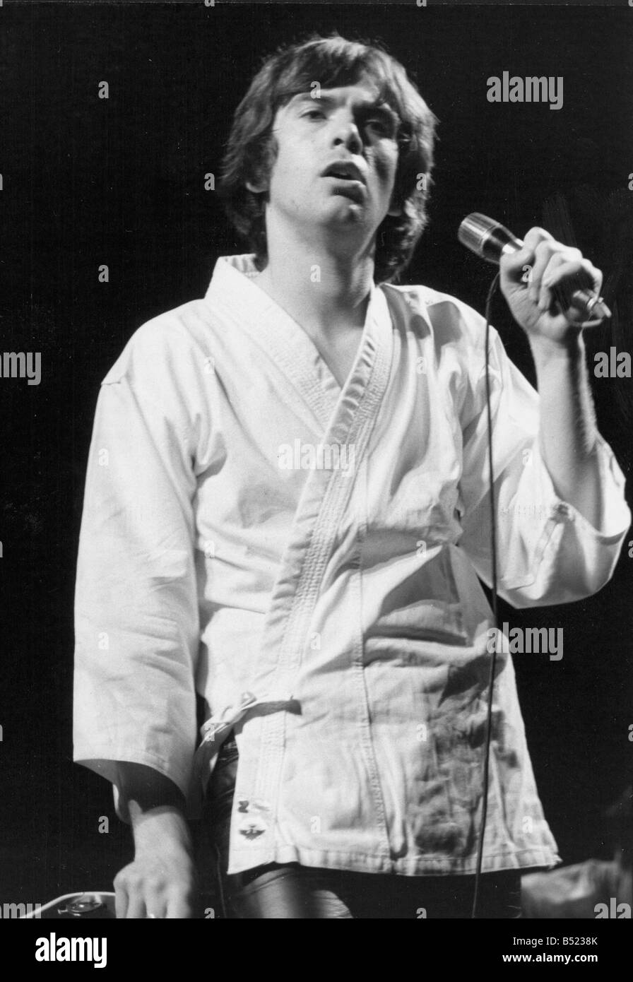 Peter Gabriel the rock star former lead singer with Genesis during a solo concert in Paris where he sang to an audience Stock Photo