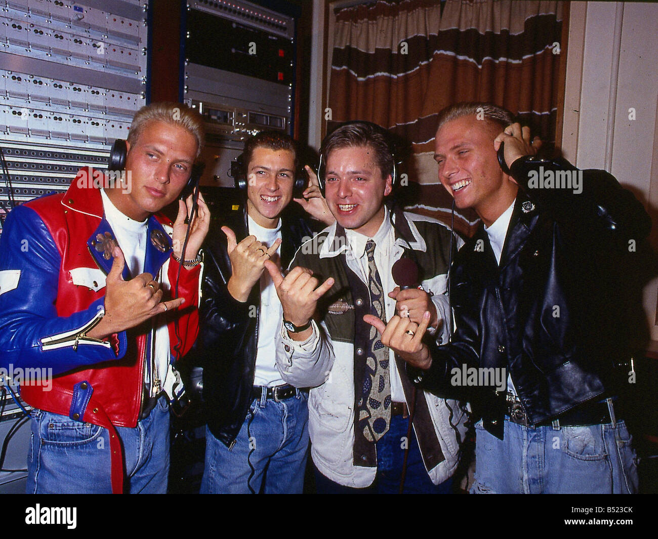 Bros pop group with disc jockey DJ Mark Goodier - Stock Image