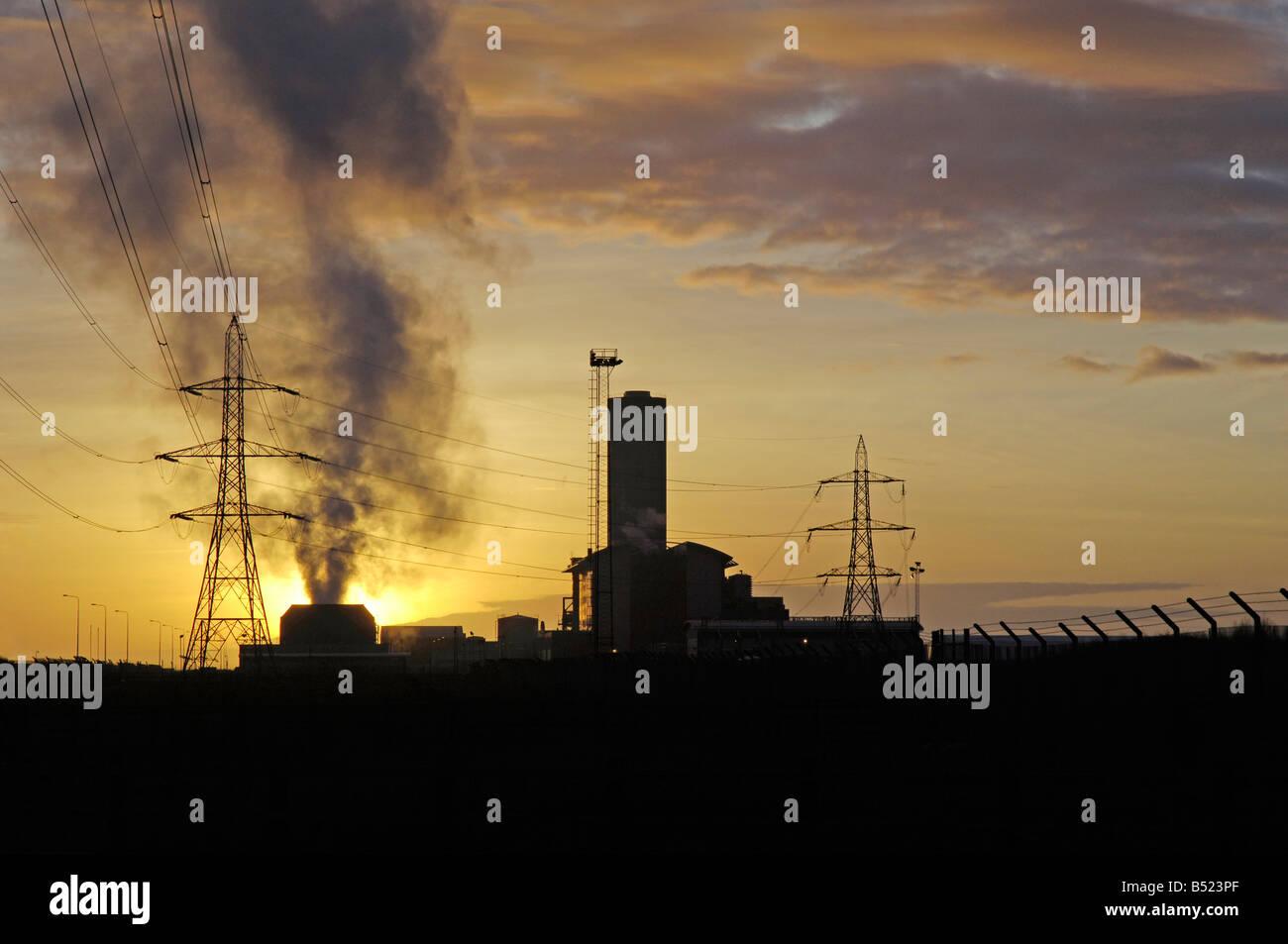 Briton Ferry Power Station at sunset Neath West Glamorgan Stock Photo