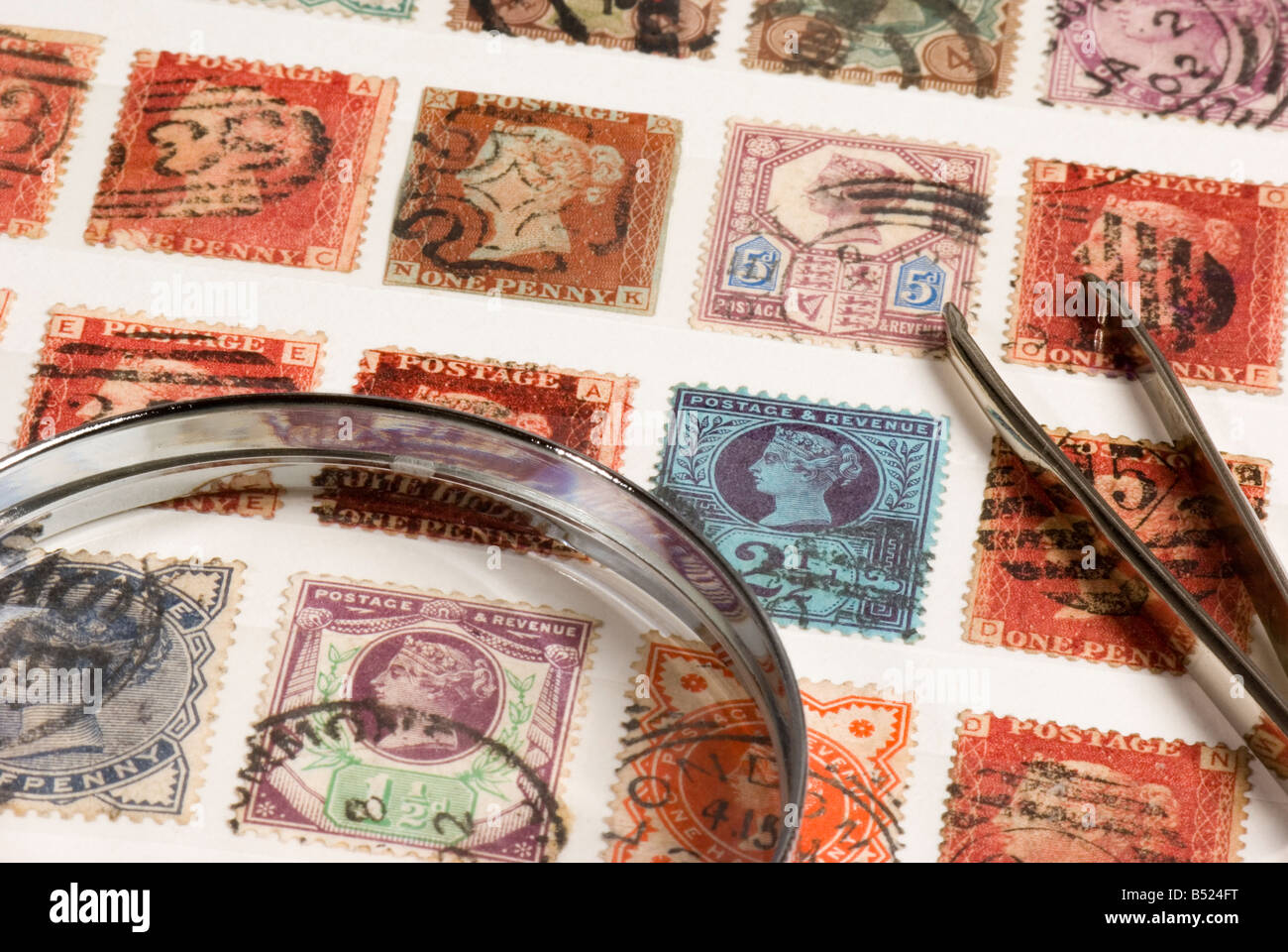 Victorian postage stamps - Stock Image