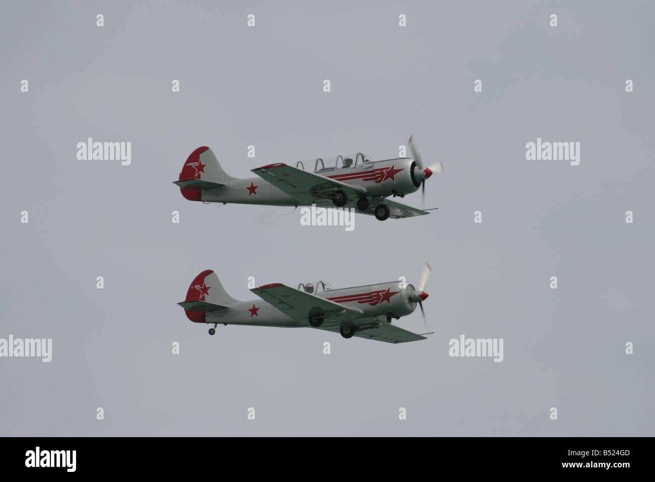 Aircraft Yakolev YAK 52 Display team single and twin seat training aircraft Stock Photo