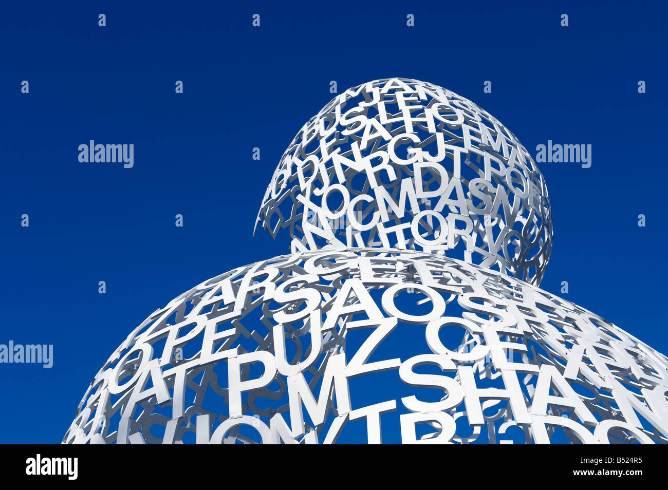 Sculpture made from the letters of the alphabet.  Editorial use only - Stock Image