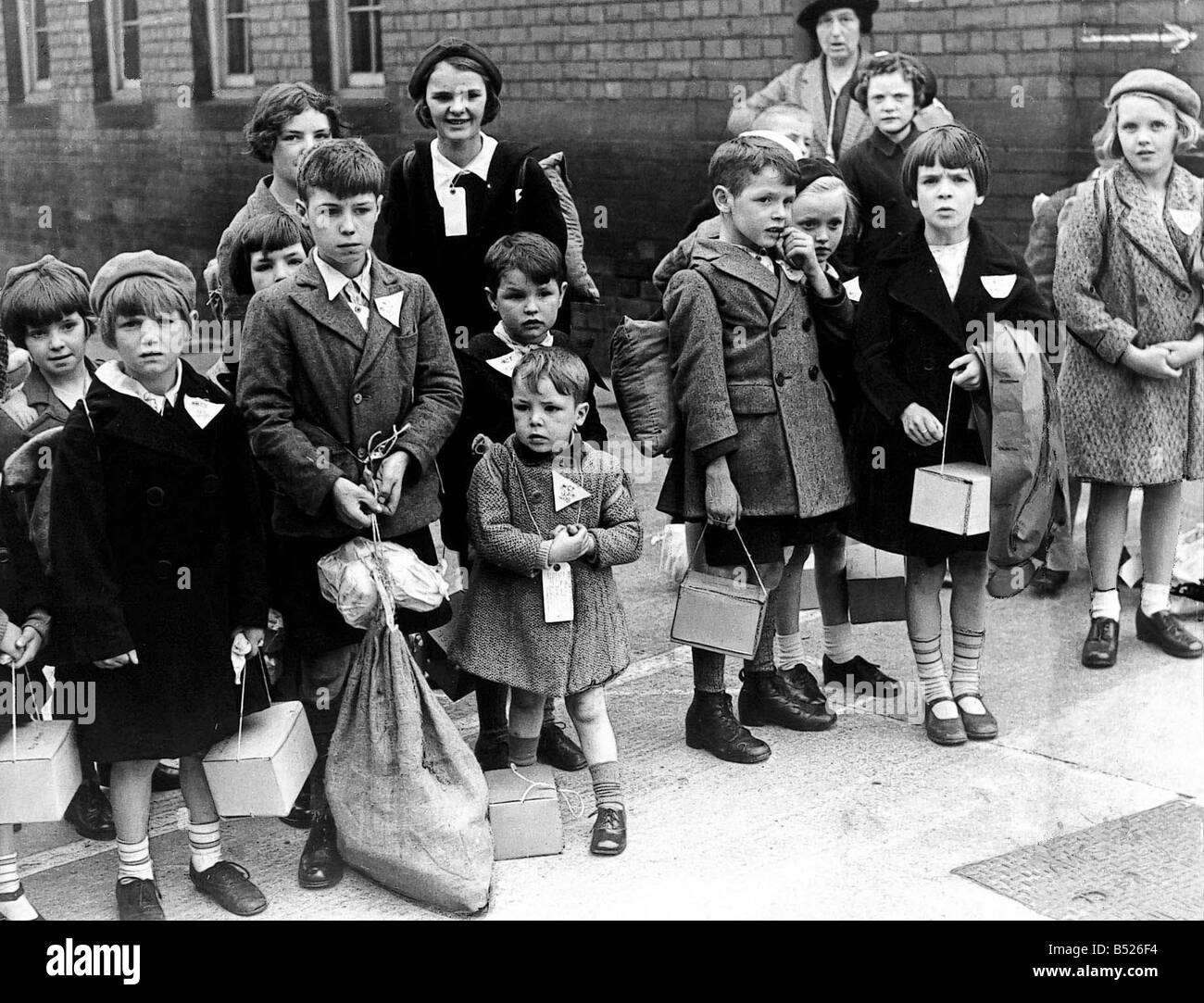 World War Two Evacuation of children Tyneside children being evacuated in September 1939 Written in the faces of - Stock Image
