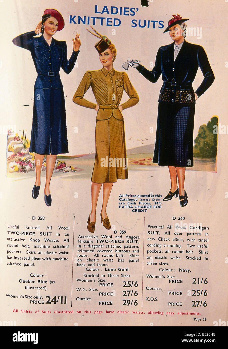 Fashion Flashback Wwii Women S Fashion: World War II Fashion 1939 Womens Knitted Suits Stock Photo