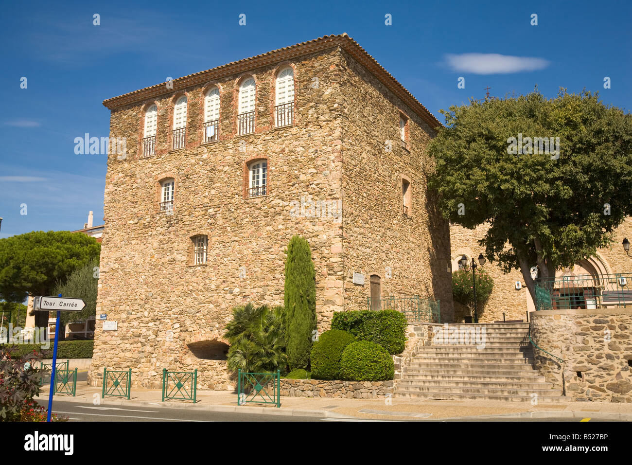 La Tour Carrée, landmark of Sainte-Maxime at the Cote d'Azur / Provence - Stock Image