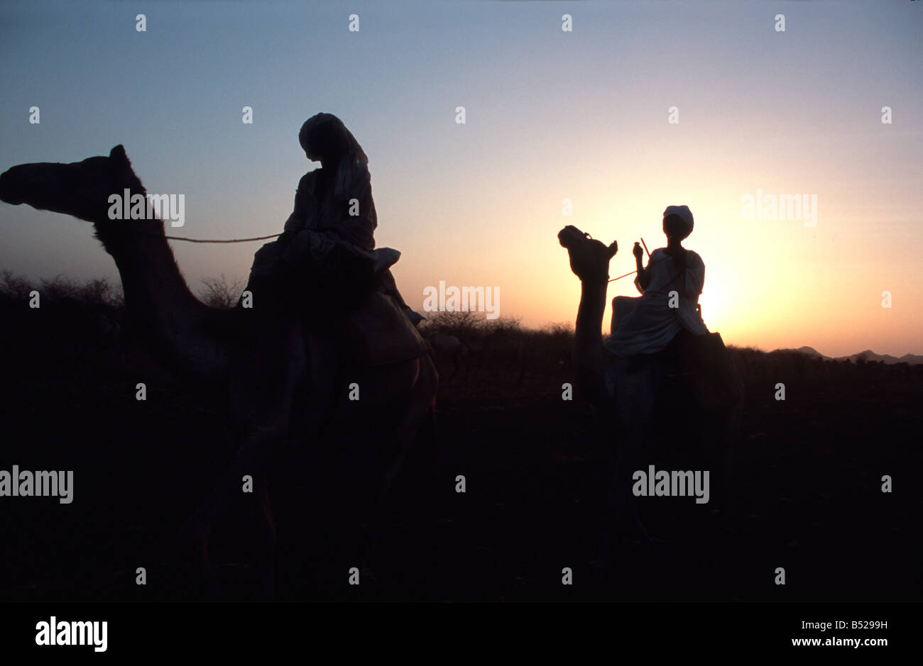 Beduins riding home Southern Sudan - Stock Image