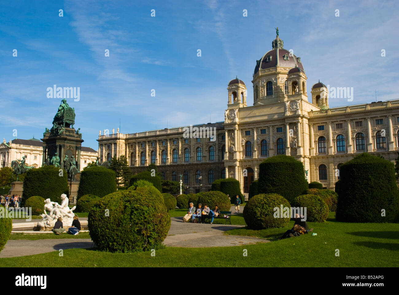Maria Theresien Platz garden in front of Kunsthistoriches Museum art museum in central Vienna Austria Europe Stock Photo