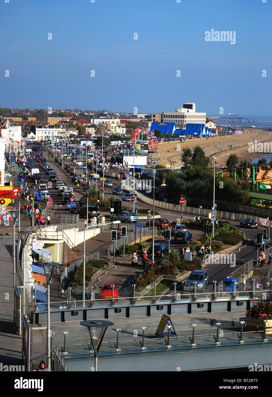 east facing - a view of Southend on Sea seafront from the pier terrace - Stock Image