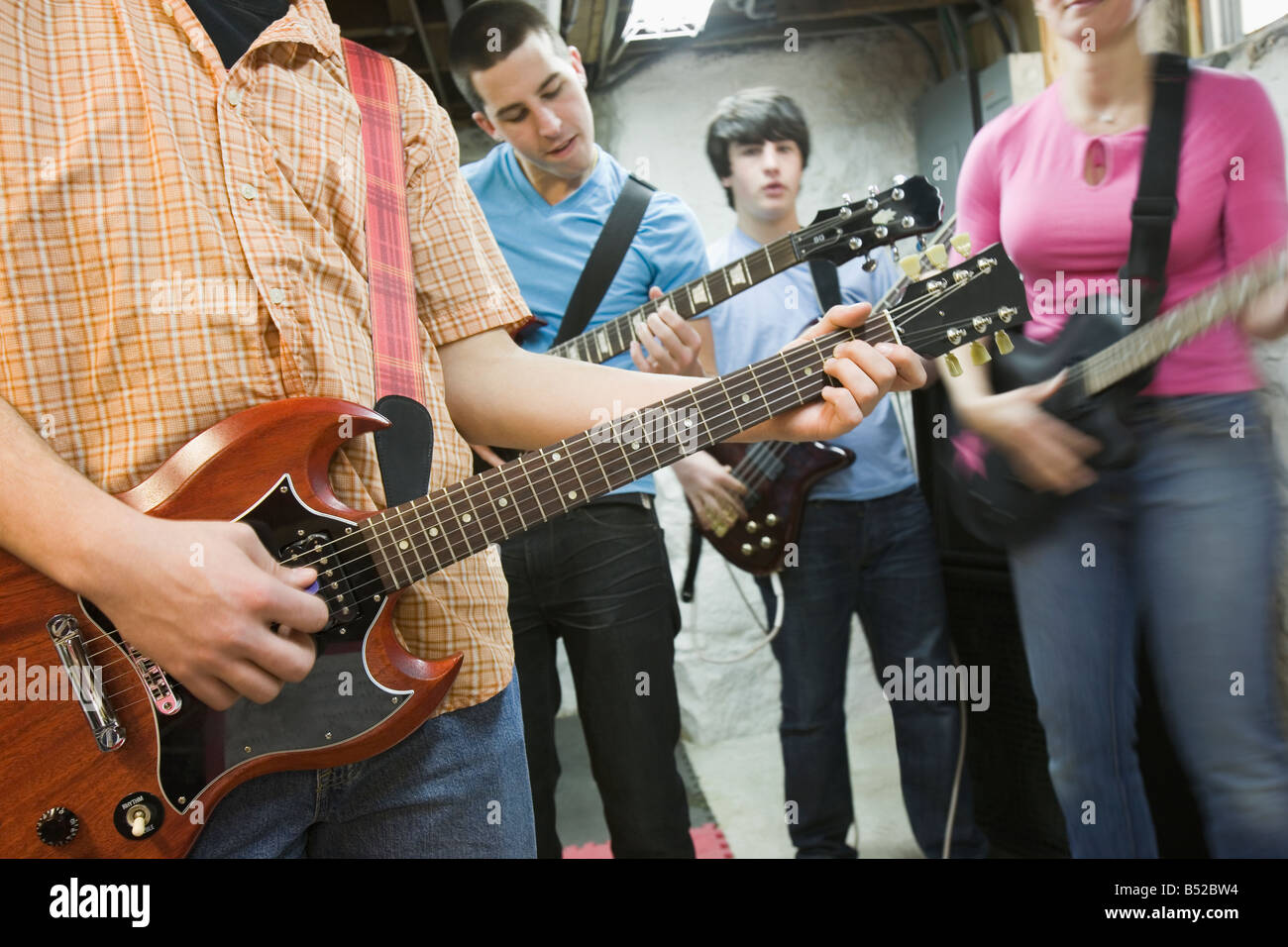 Musical band practicing - Stock Image