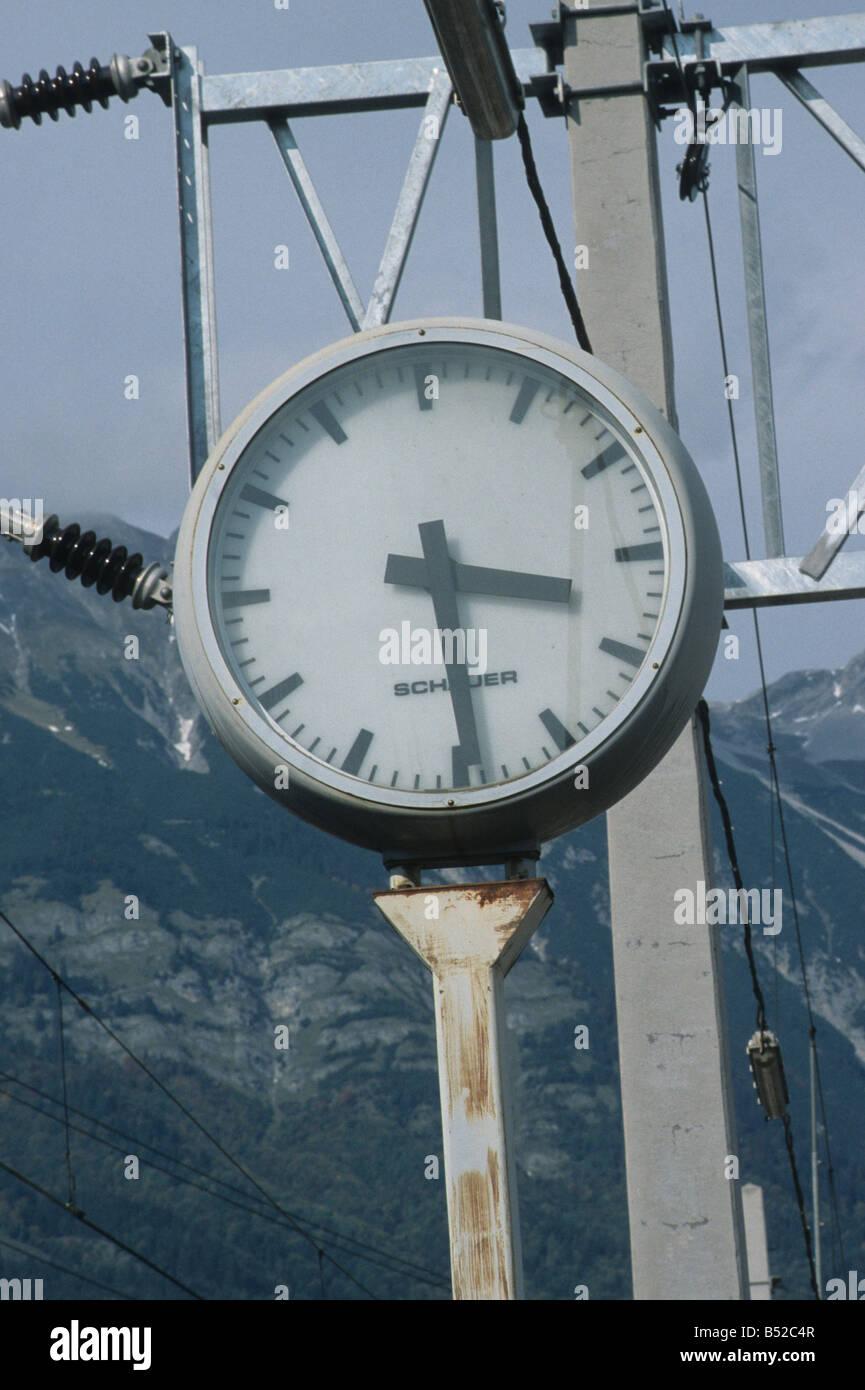 Austrian Railways (OBB), clock Scharnitz station. - Stock Image