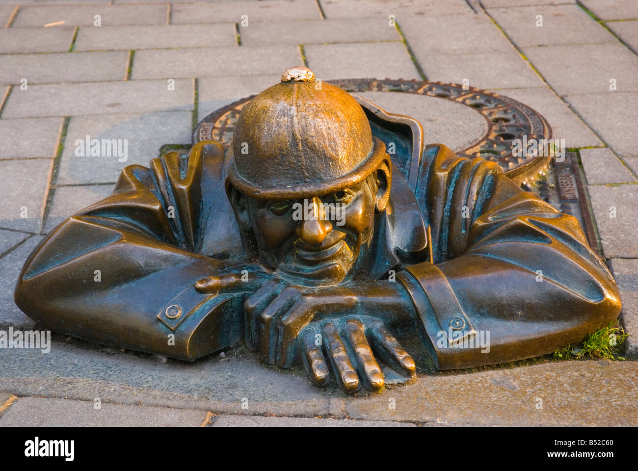 Man at Work statue in old town Bratislava Slovakia Europe - Stock Image