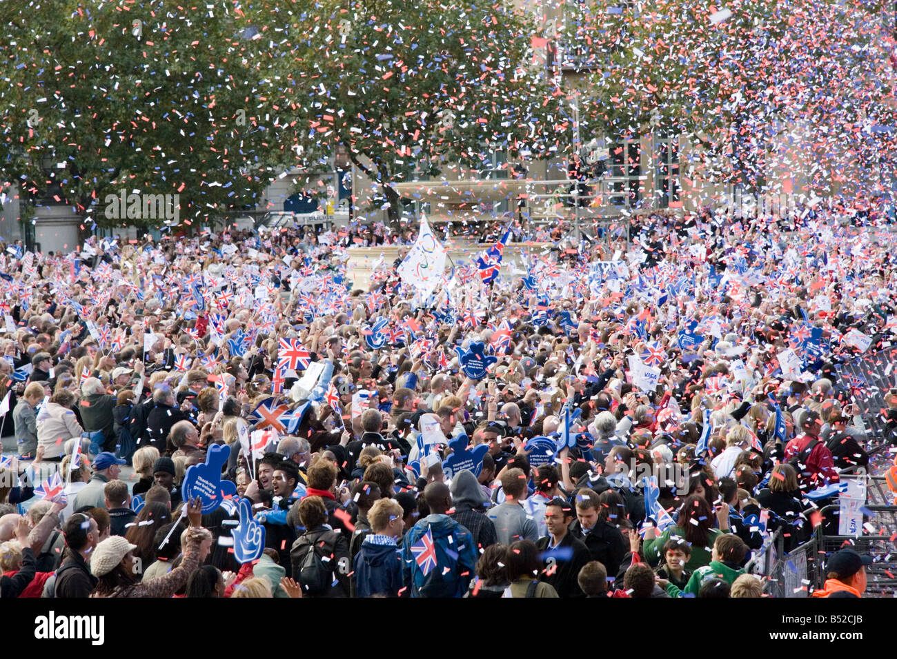 The crowd in Trafalgar Square celebrate Team GB Beijing Olympics Medallists - victory parade, London, October 16th - Stock Image