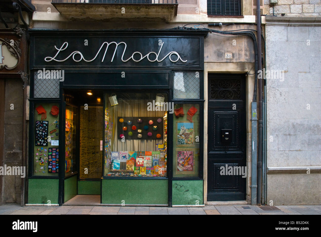 Shop front in Barri Vell the old town Girona Spain Europe - Stock Image