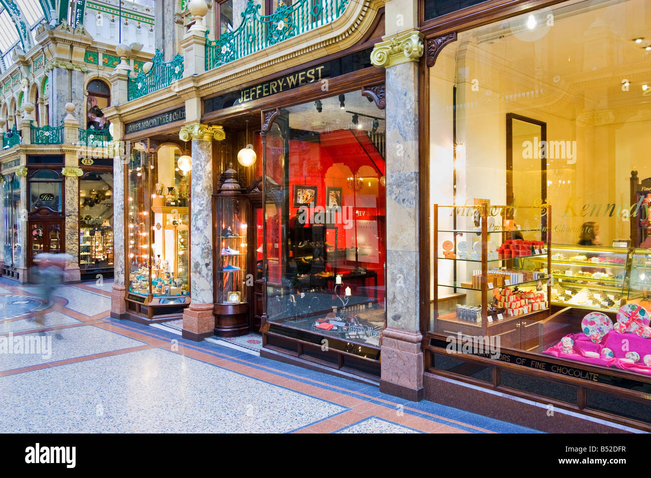 Shopping Mall, UK - Luxury shops and stores in Victoria Quarter arcade, Leeds, Yorkshire - Stock Image