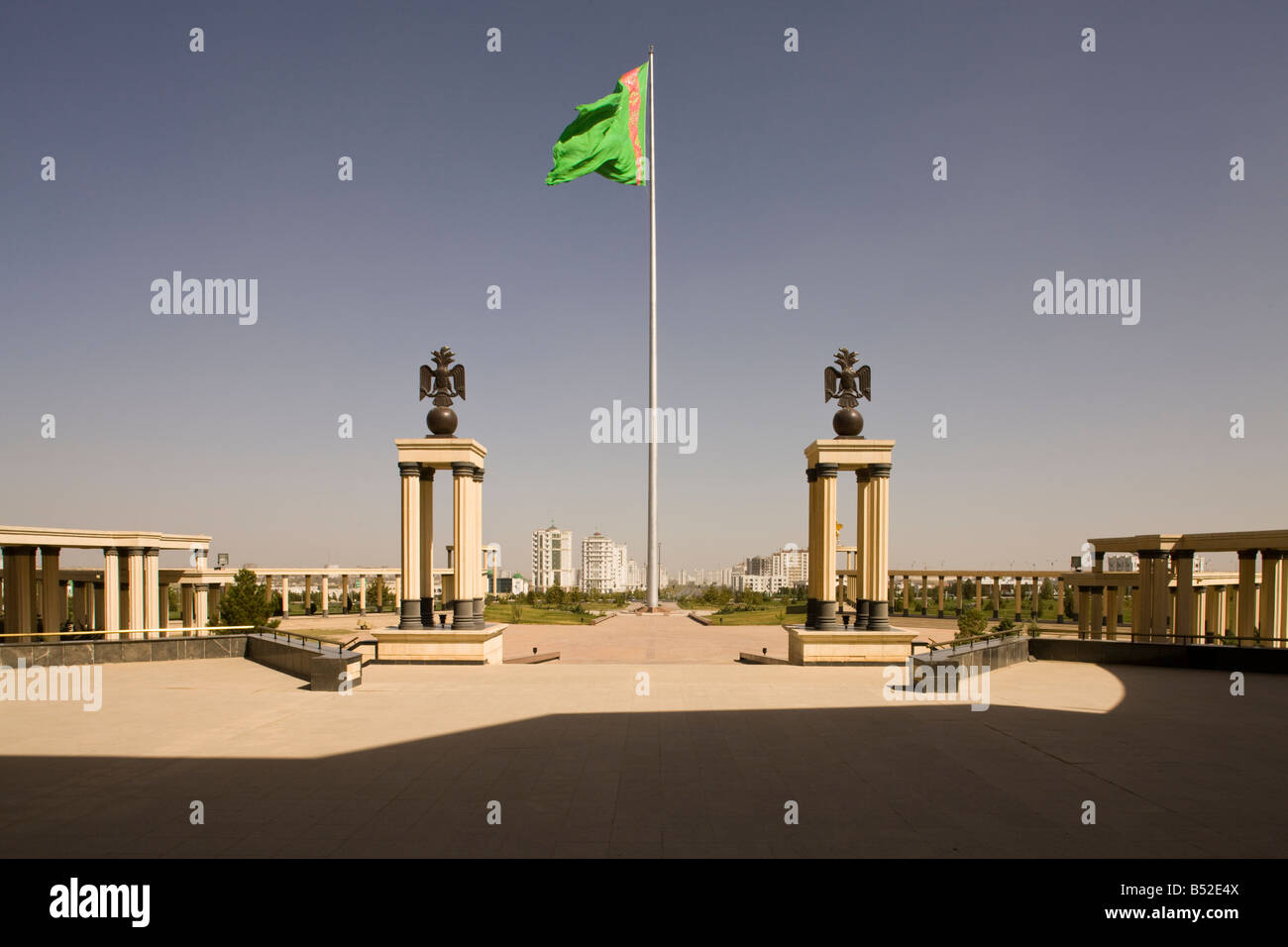 view from National Museum towards city, Ashgabat, Turkmenistan, showing the former world's tallest flagpole Stock Photo