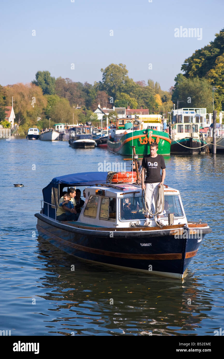 Boats on Thames River Twickenham TW10 London United - Stock Image