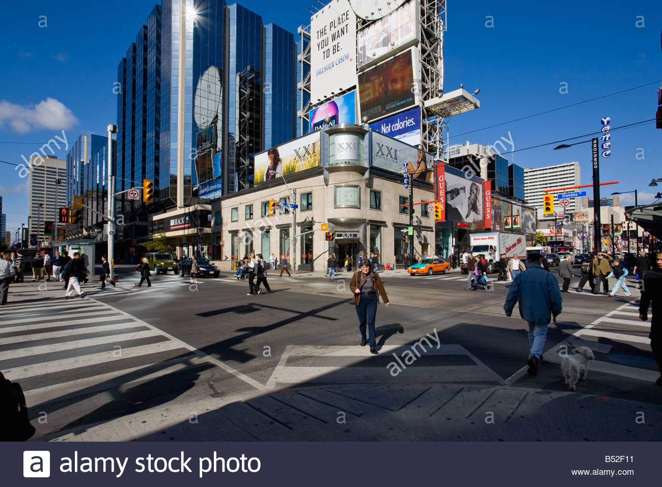 The corner of Dundas and Yonge Street a pedestrian scramble intersection in downtown Toronto Ontario Canada Stock Photo