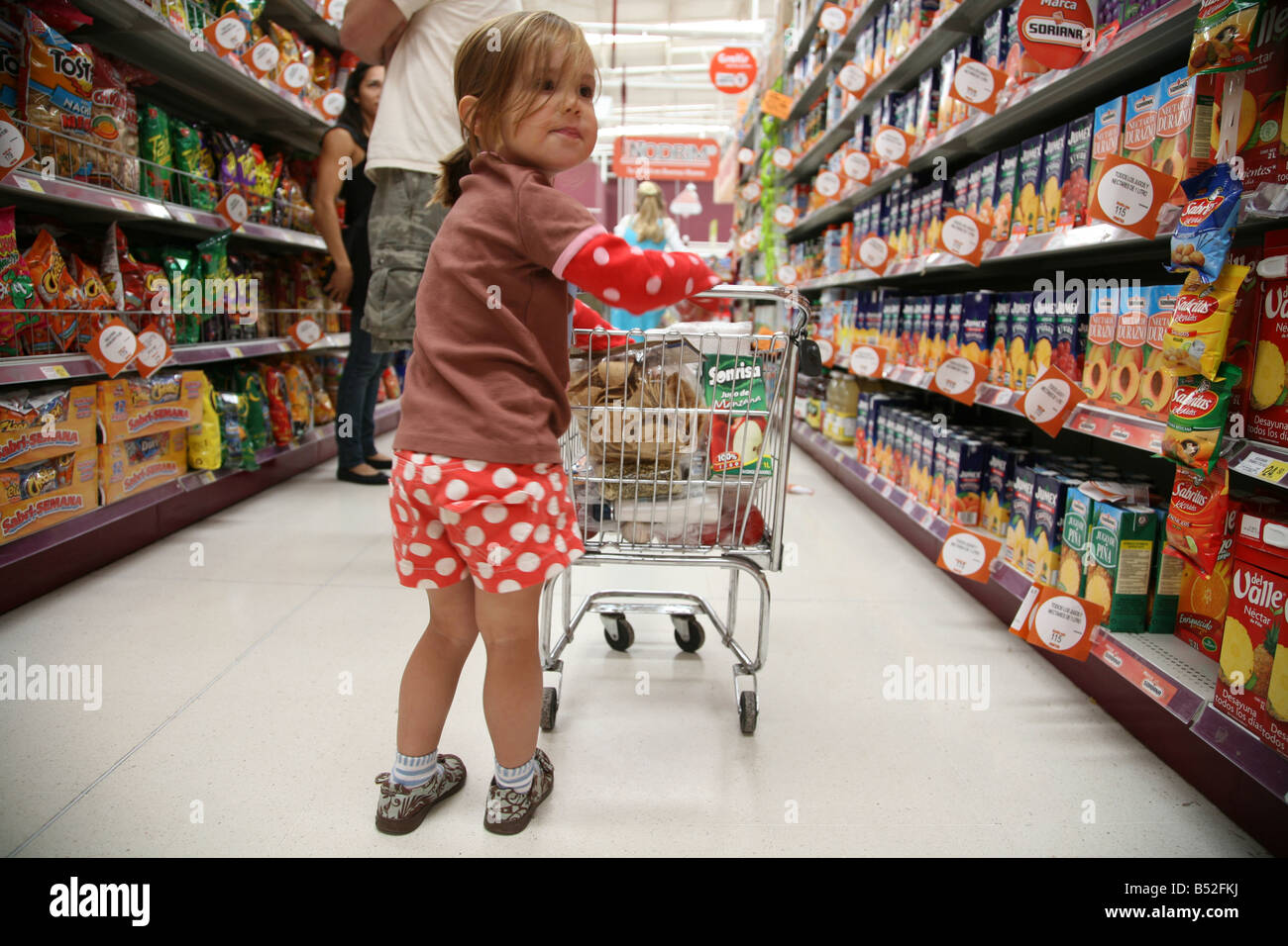 three year old girl pushing grocery cart while shopping in a Mexican grocery store Feeling sassy Feeling grownup - Stock Image