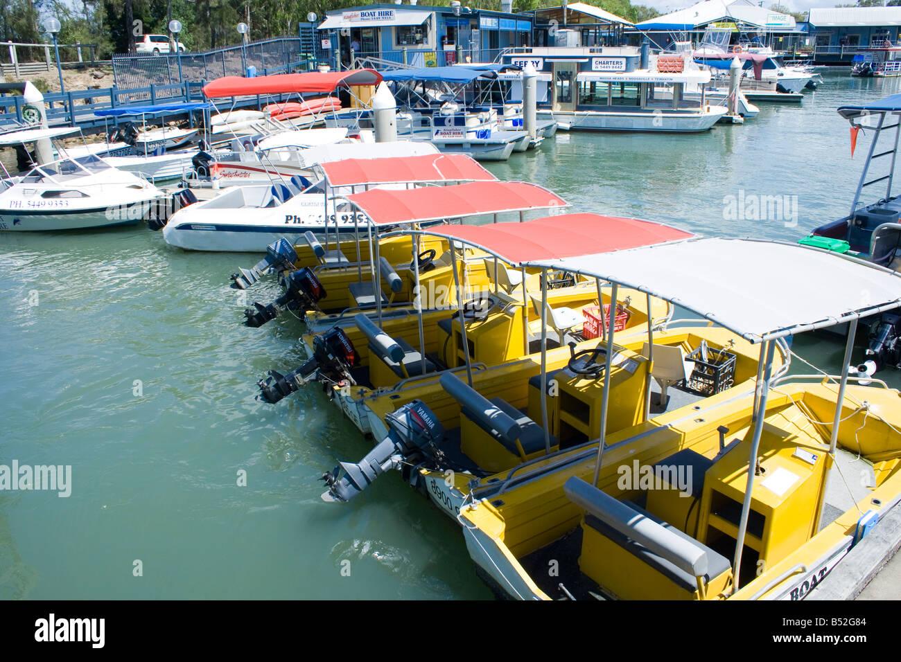 HIre Boats Noosa Marina in Tewantin Qld - Stock Image