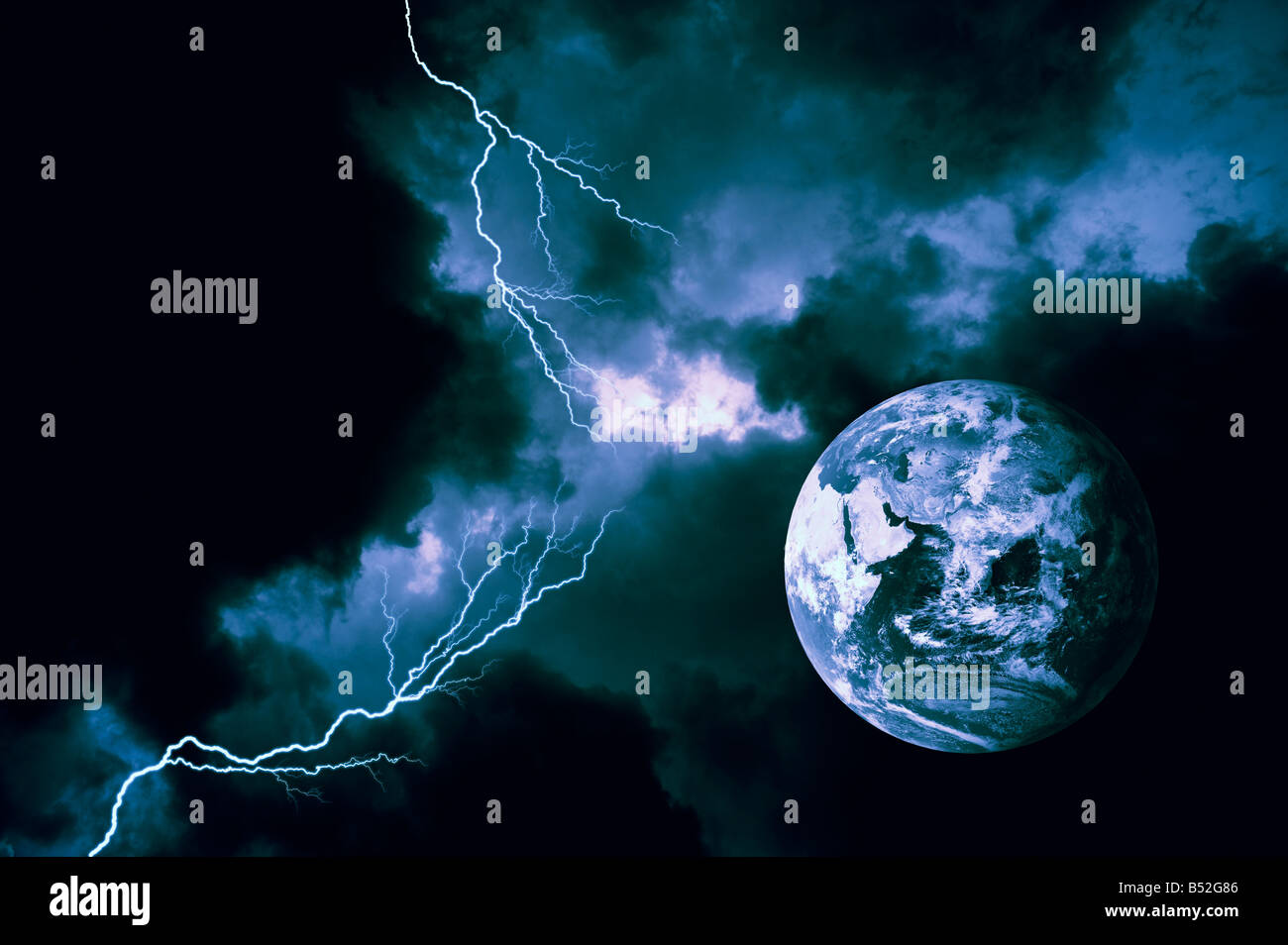 conceptual view of the earth during a computer generated lightning storm - Stock Image