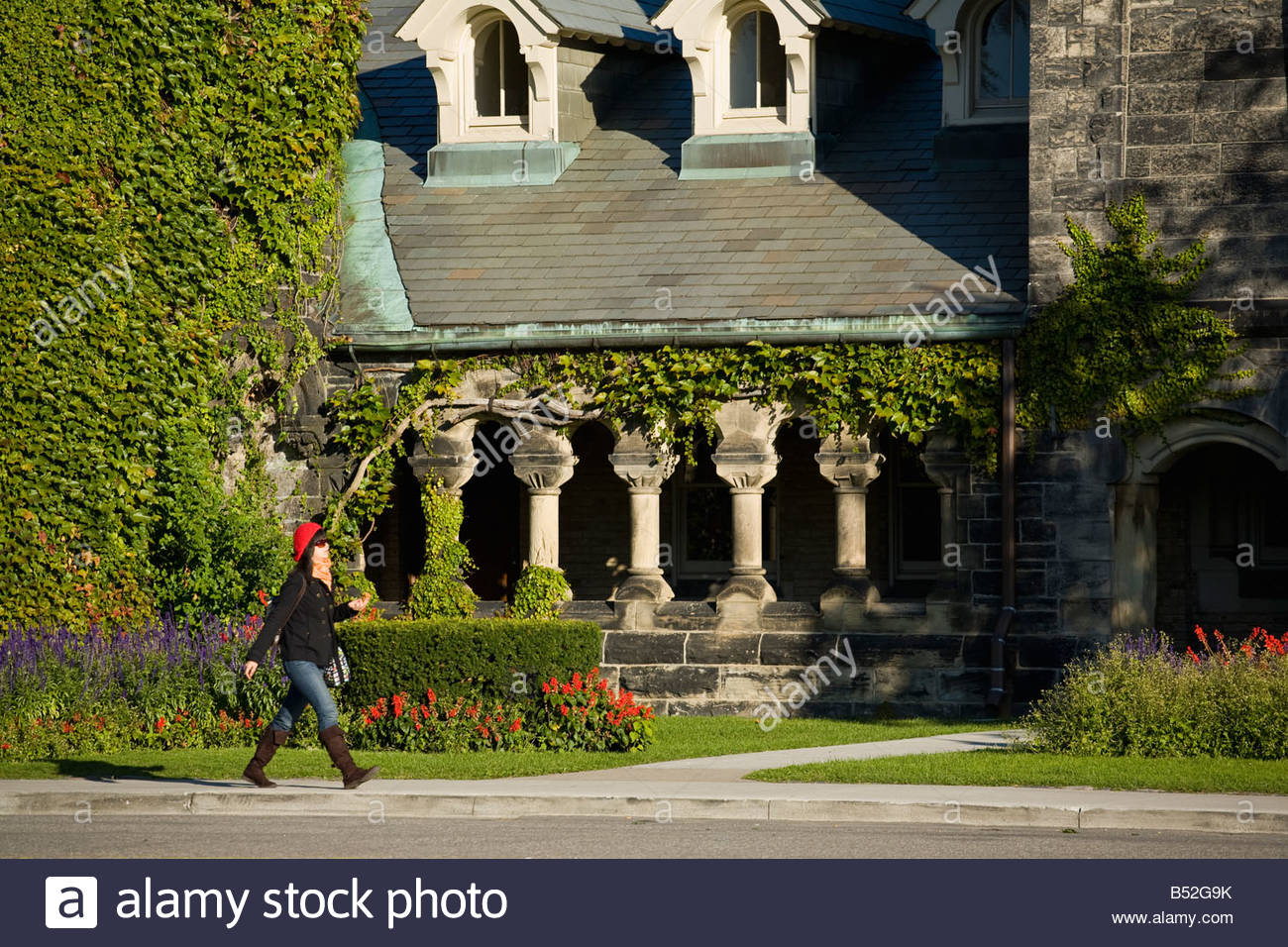 Colonnade at University College at the University of Toronto in Toronto Ontario Canada - Stock Image