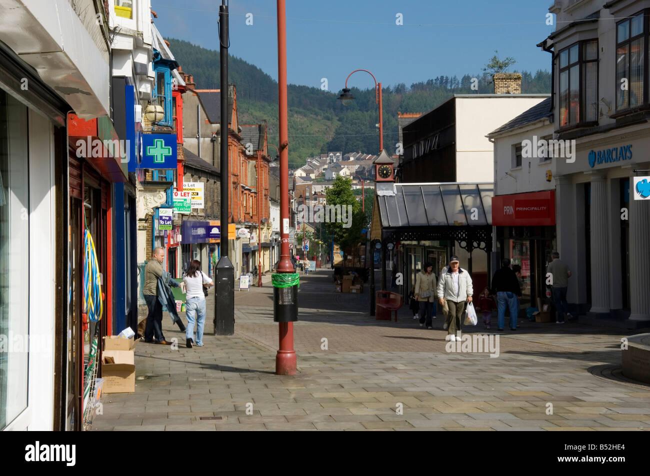 Tonypandy shopping precinct Rhondda Mid Glamorgan South Wales - Stock Image