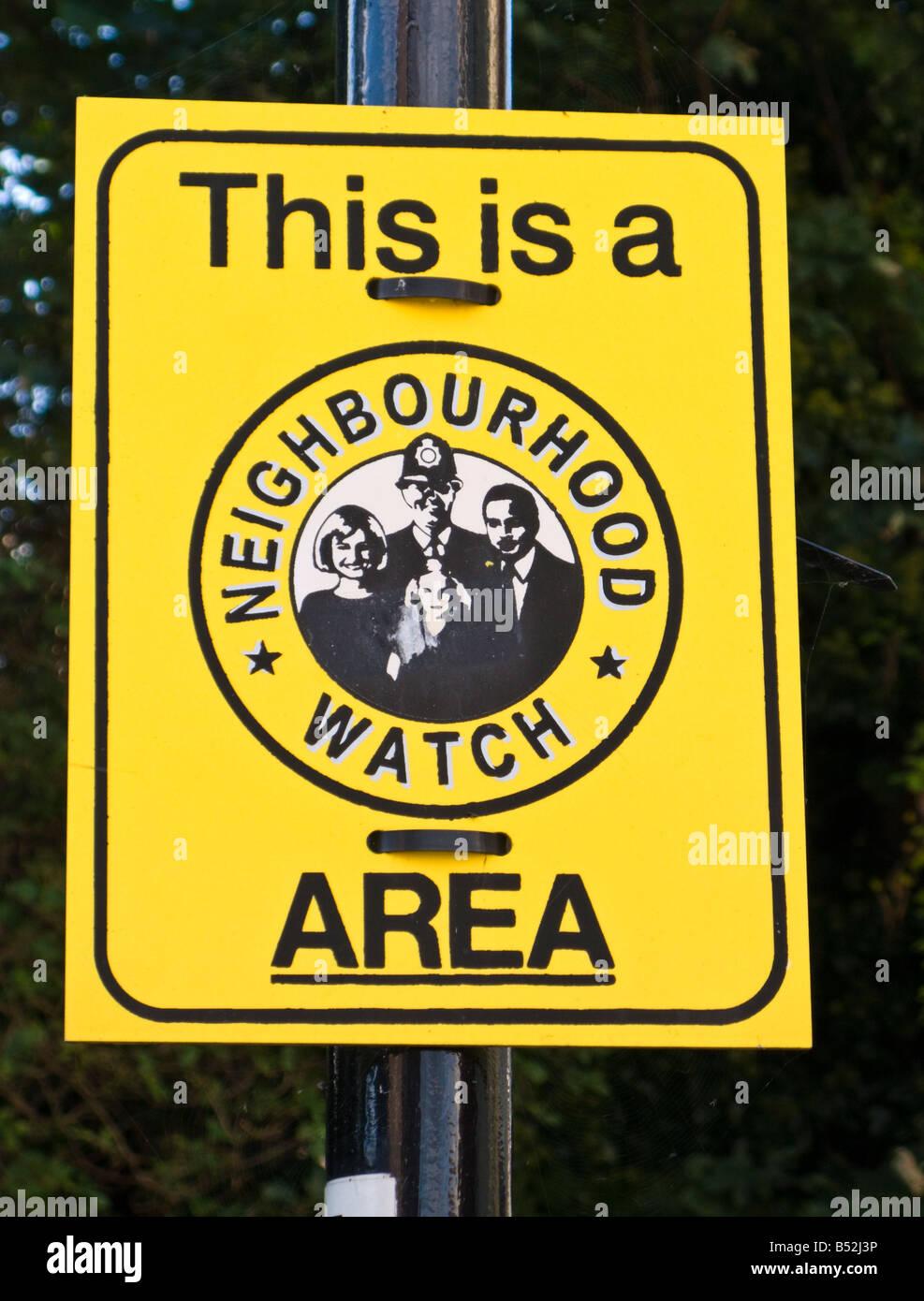 Neighbourhood Watch Area sign England UK - Stock Image