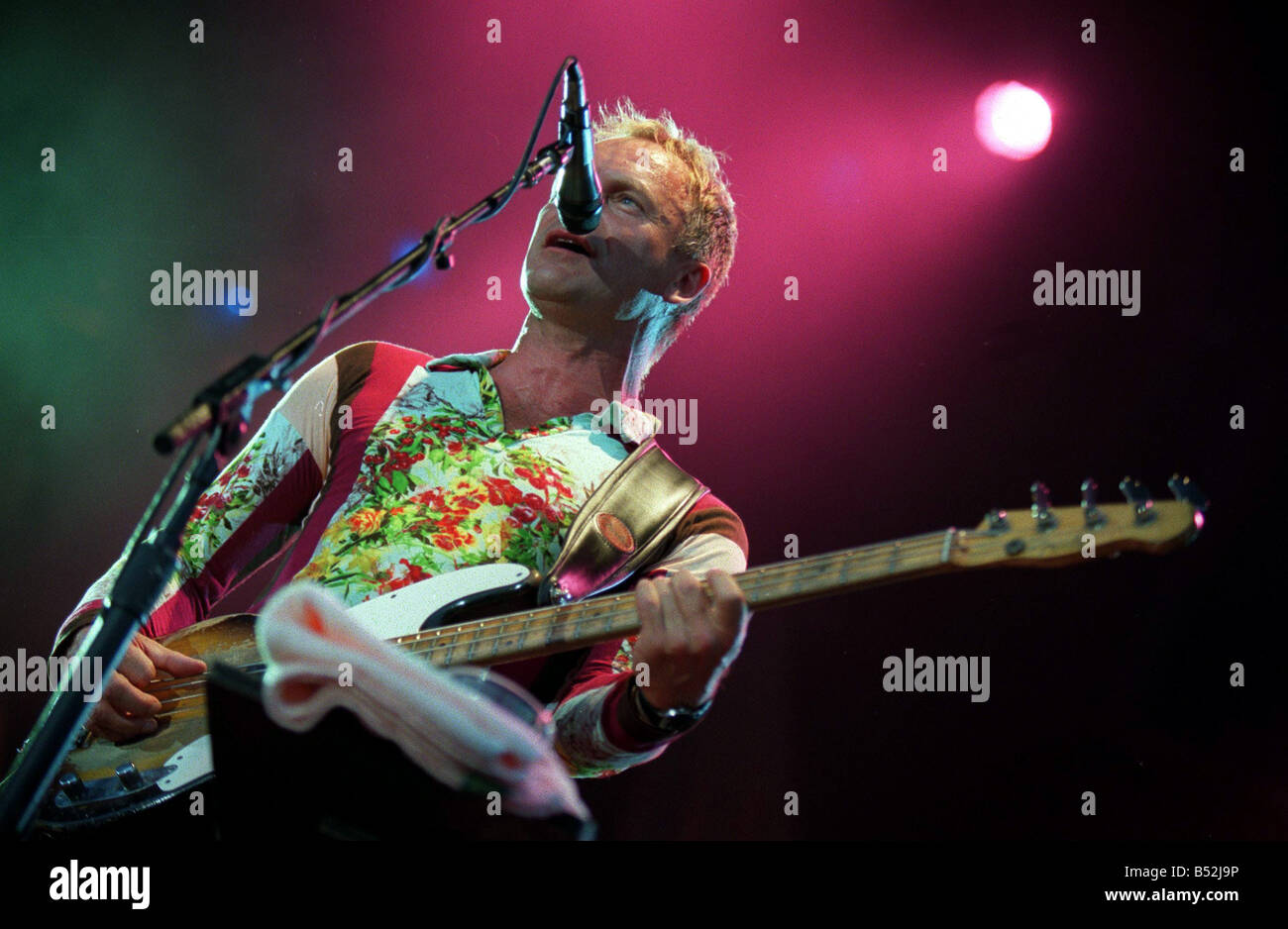 Sting pictured in concert at Cardiff Castle 27th July 2001 Western Mail and Echo Copyright Image - Stock Image