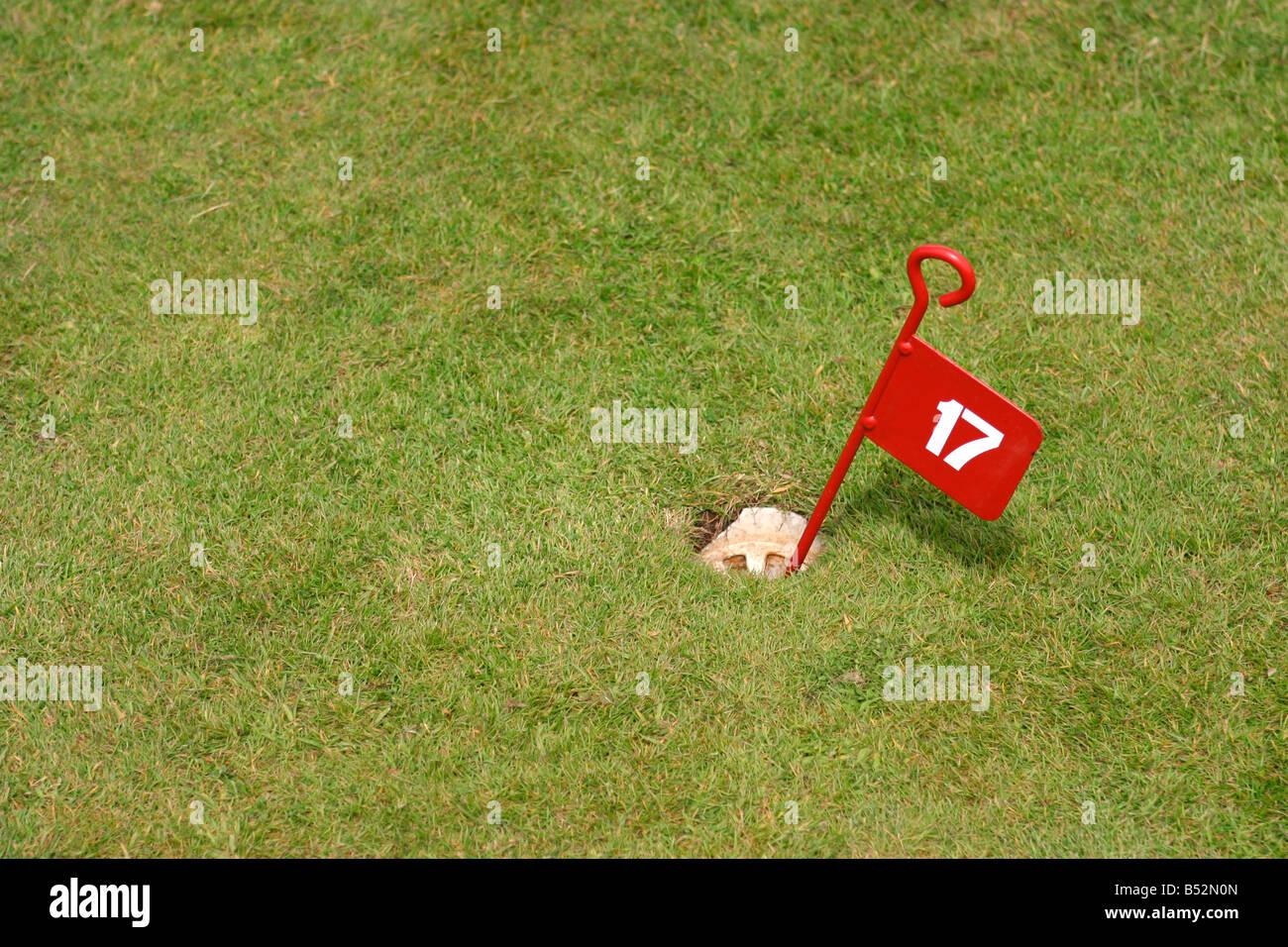 17 th golf hole flag - Stock Image