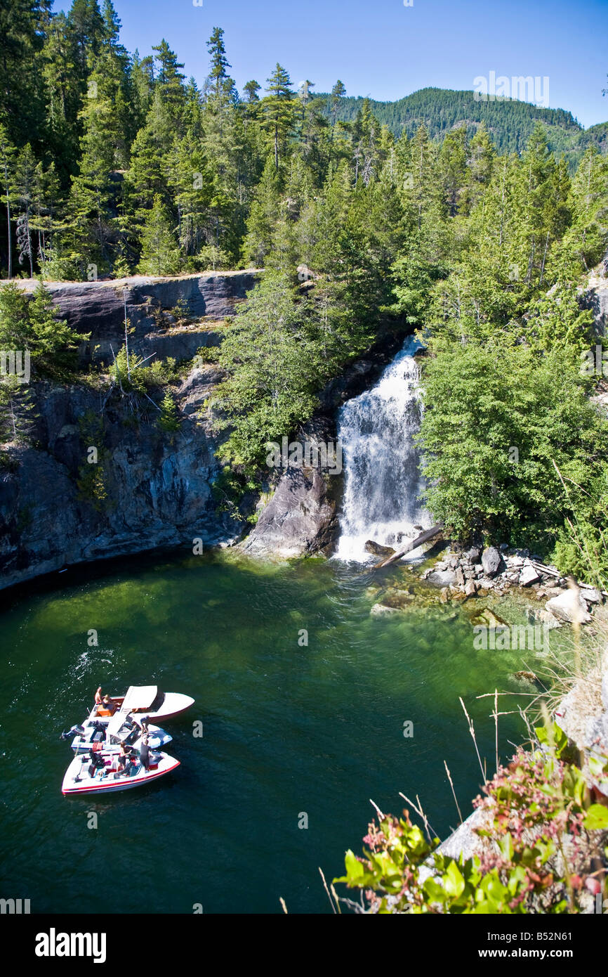 Waterfall Teakearne Arm Desolation Sound British Columbia Canada - Stock Image