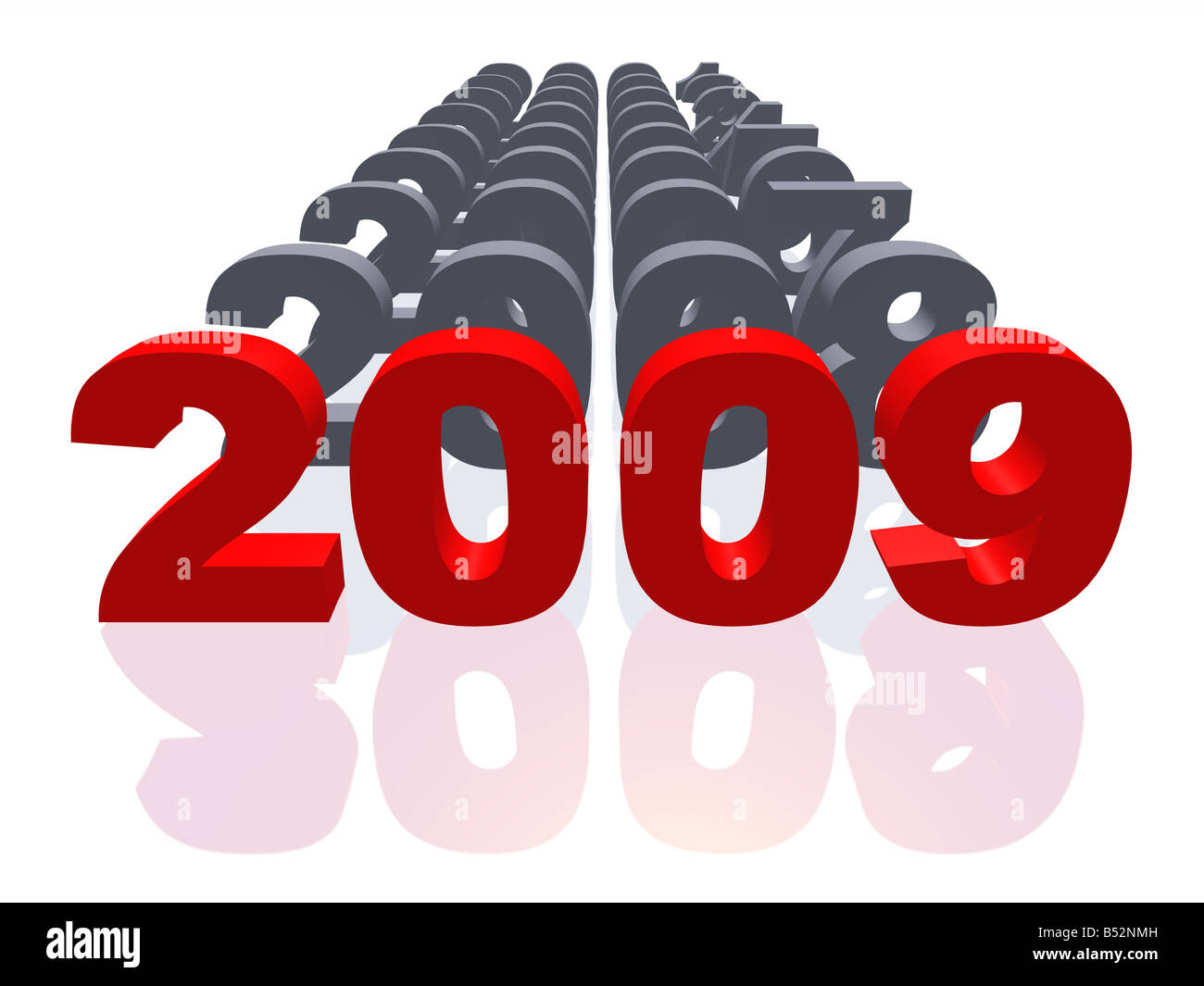 2009 with set of figures symbolizing 2000 2008 Set of figures symbolizing 2000 2008 with 2009 in the foreground - Stock Image
