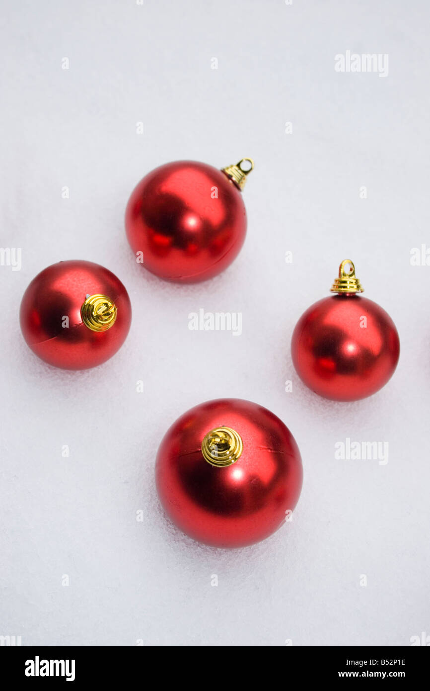 christmas decorations in the snow - Stock Image