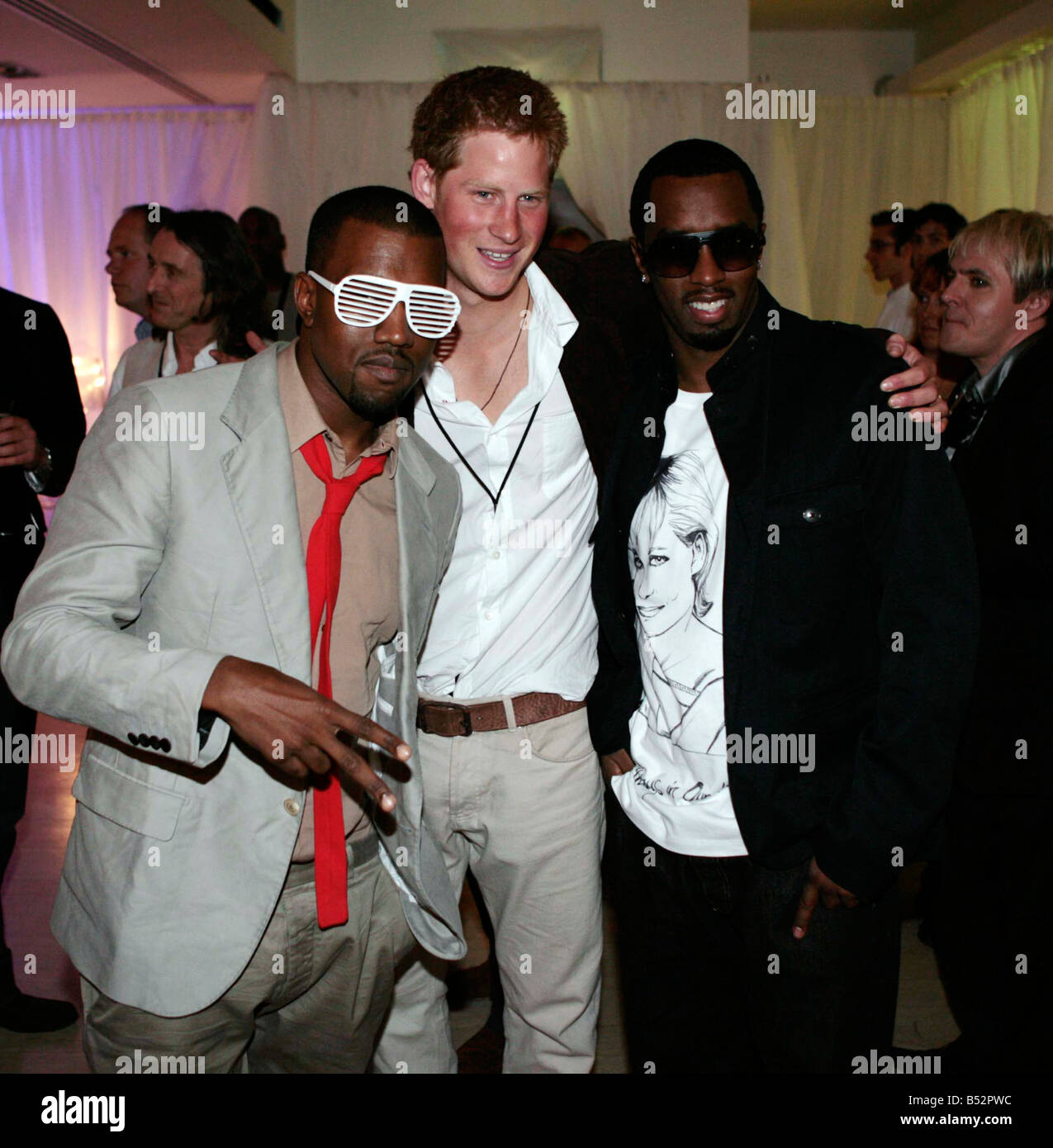 Prince Harry with Kanye West and P Diddy - Stock Image