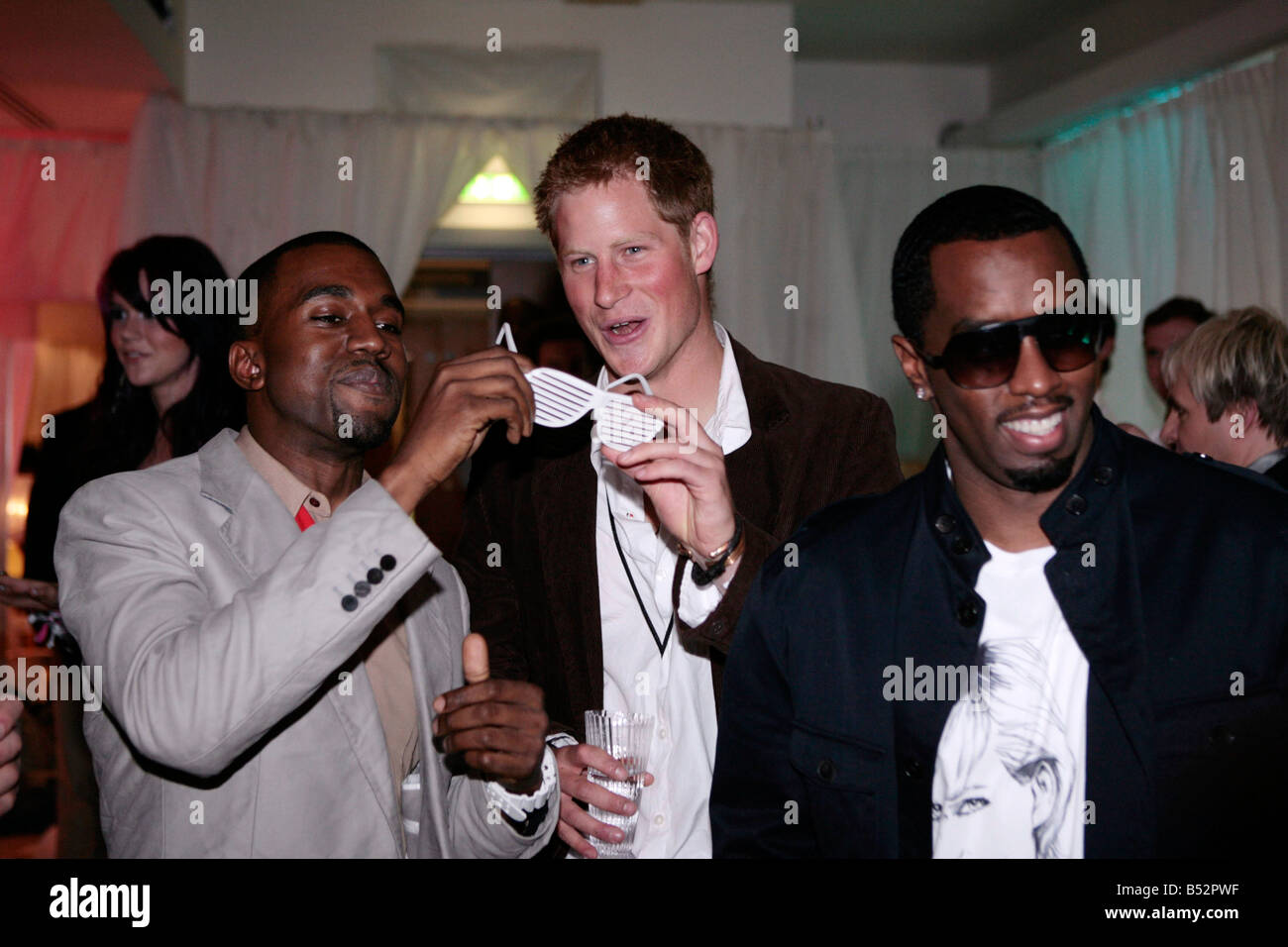 william and harry with p diddy and kanye west - Stock Image