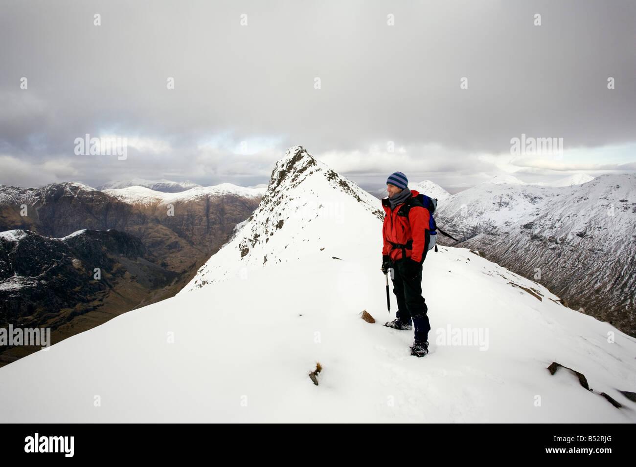Scotland winter mountain peaks summit Glencoe Stock Photo