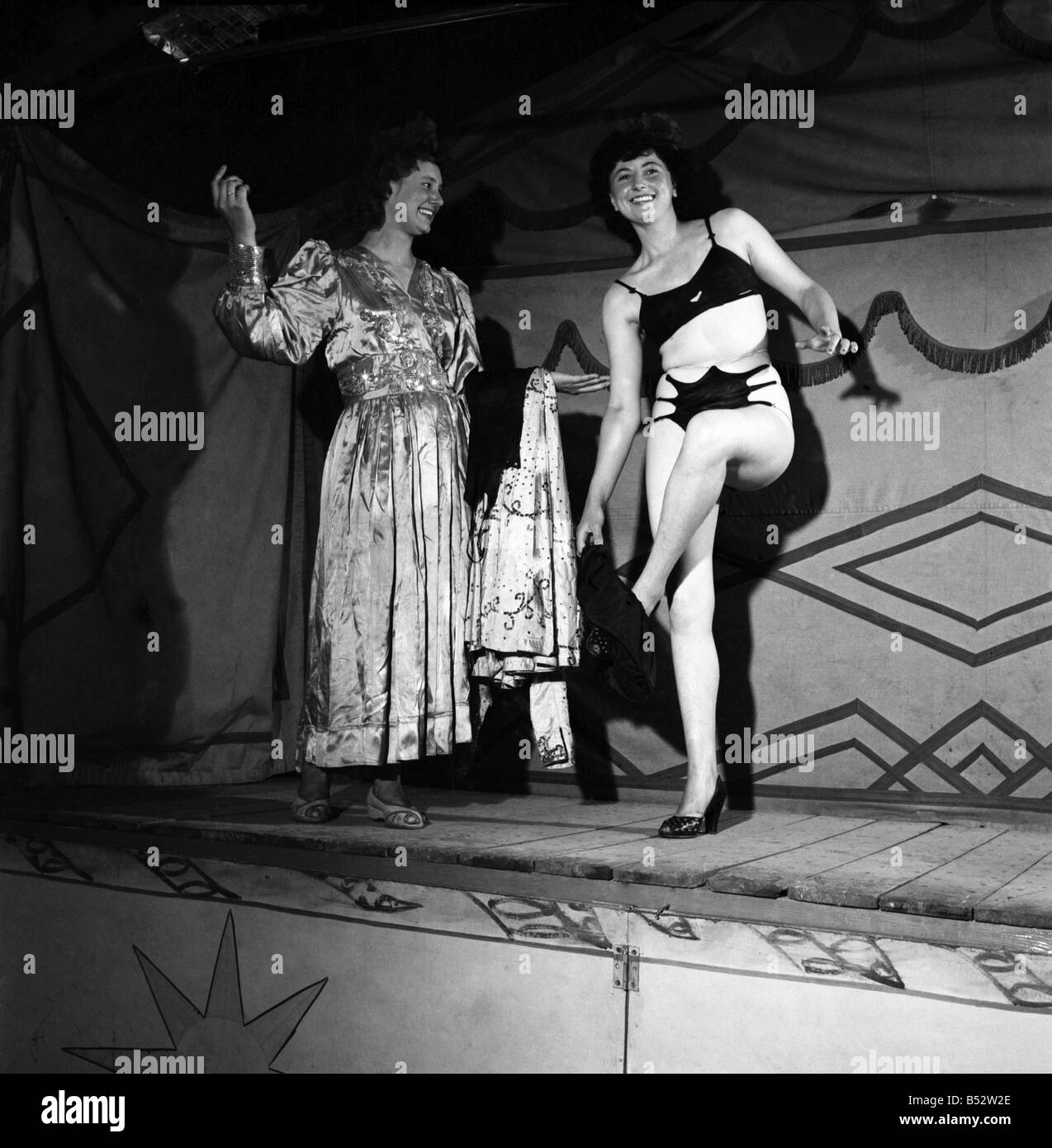 87ecdd7abc7 Joan Frost and Elsie Price seen here on stage performing 'Striptease' a  travelling show