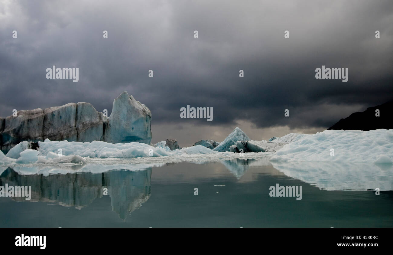 View of ice bergs in Resurrection Bay from Bear Glacier in Kenai Fjords National Park, Alaska - Stock Image