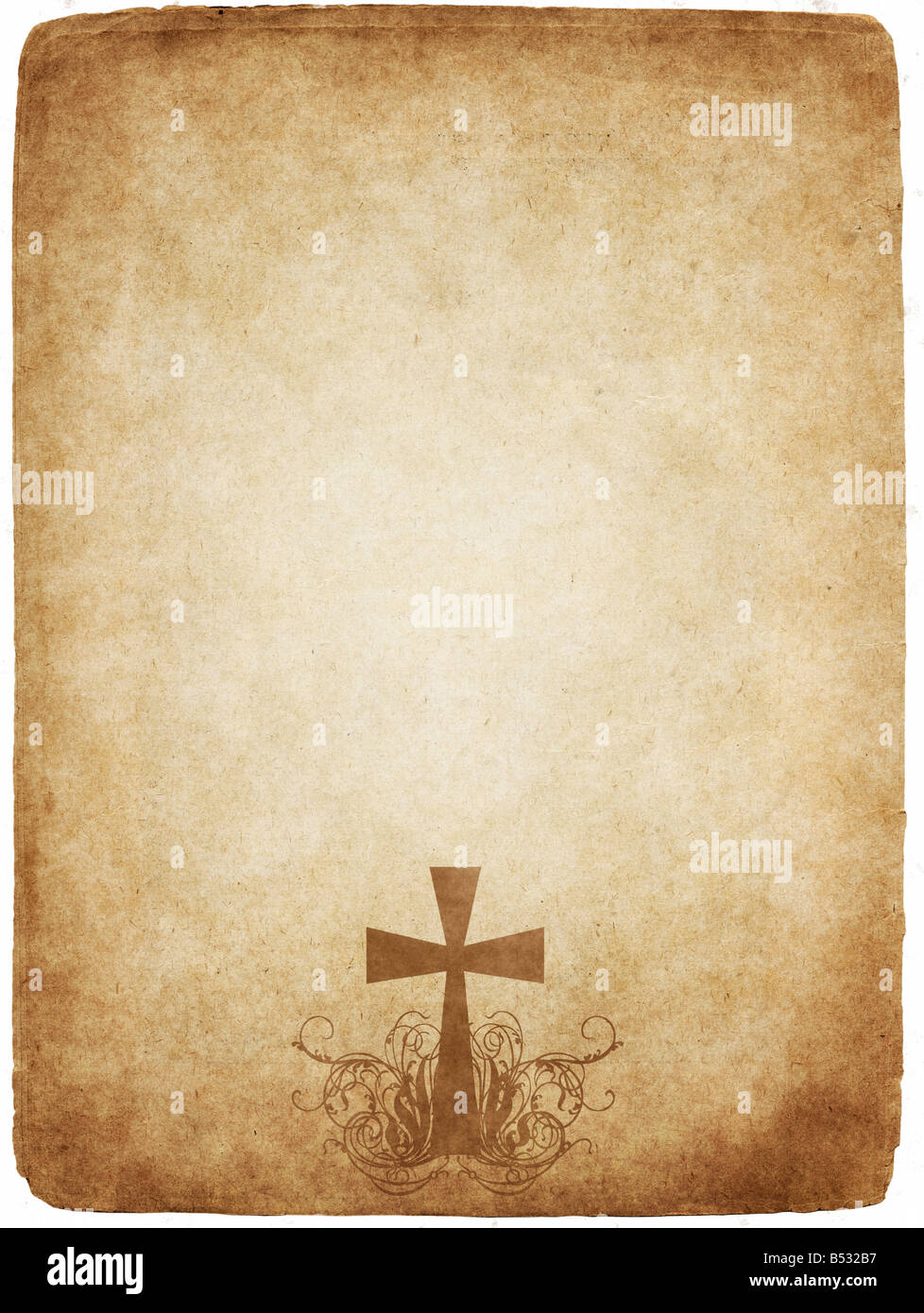 cross on old worn and grungy parchment paper - Stock Image